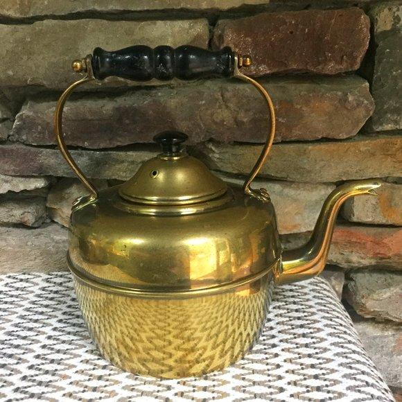 VTG Brass Kettle England Tea Wood Handle Boho